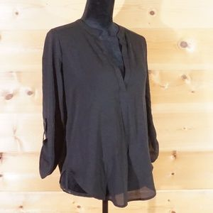 LUSH Black Pullover Sheer Black Blouse Size Small